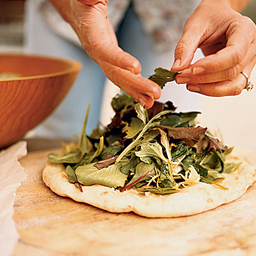 Salad Pizza with Baby Greens and Herbs