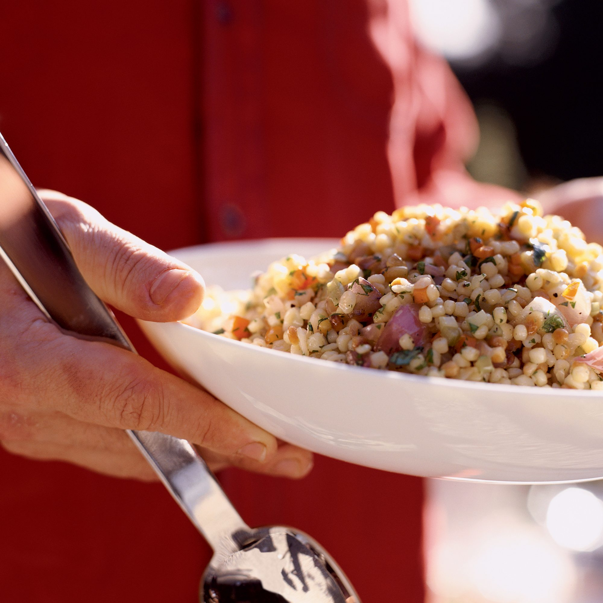 Fregola with Grilled Red Onions and Pine Nuts