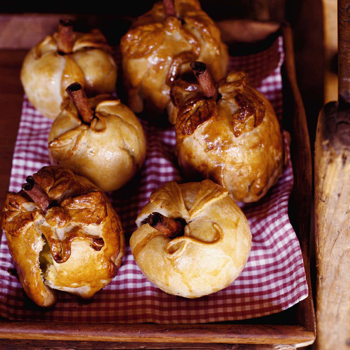 Apples Baked in Pastry with Plum Sauce