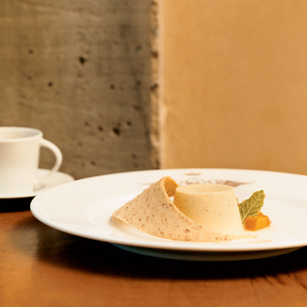 Lemon Panna Cottas with Peach Compote and Ginger Syrup