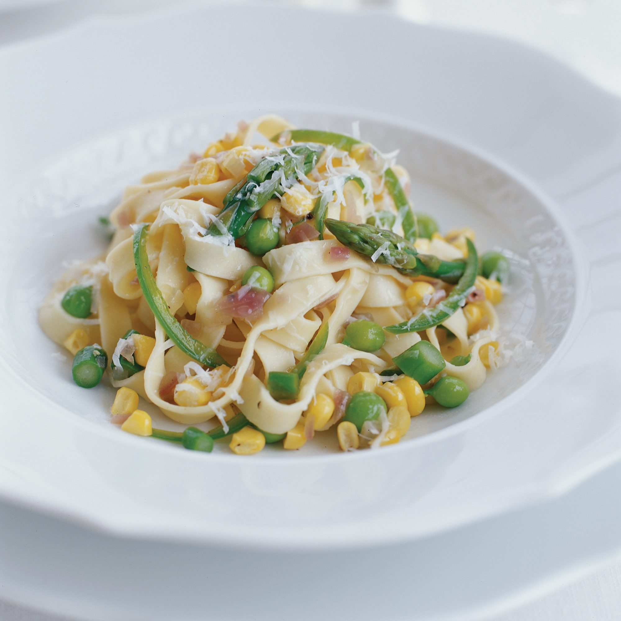 Fresh Pasta with Spicy Corn and Asparagus