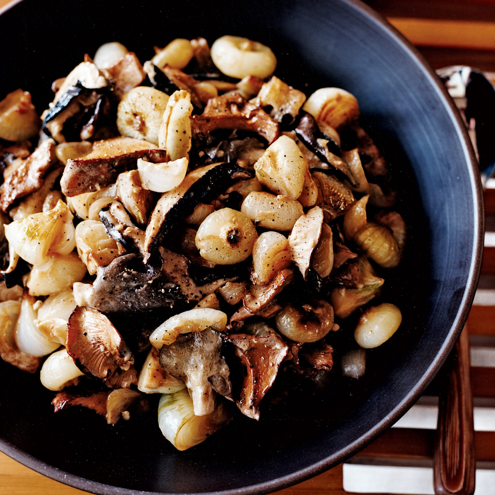 Creamed Cipollini Onions and Mushrooms