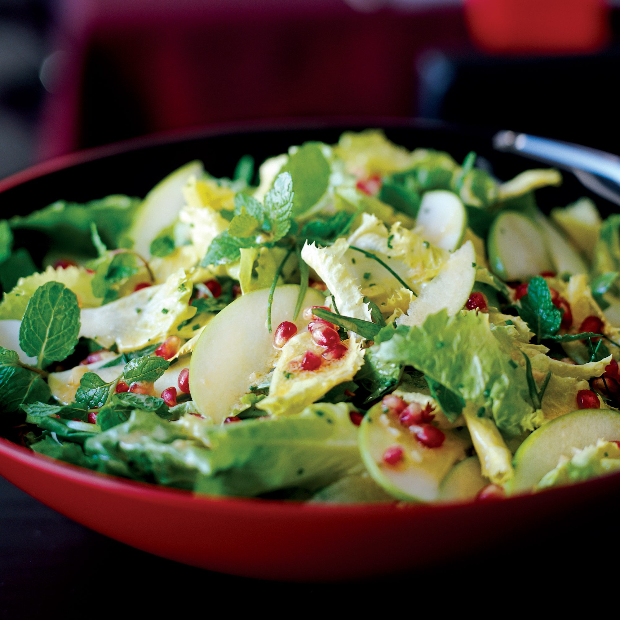 Escarole and Fresh Herb Salad with Apples and Pomegranates
