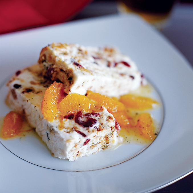 Frozen Fruit Nougat with Citrus Sauce
