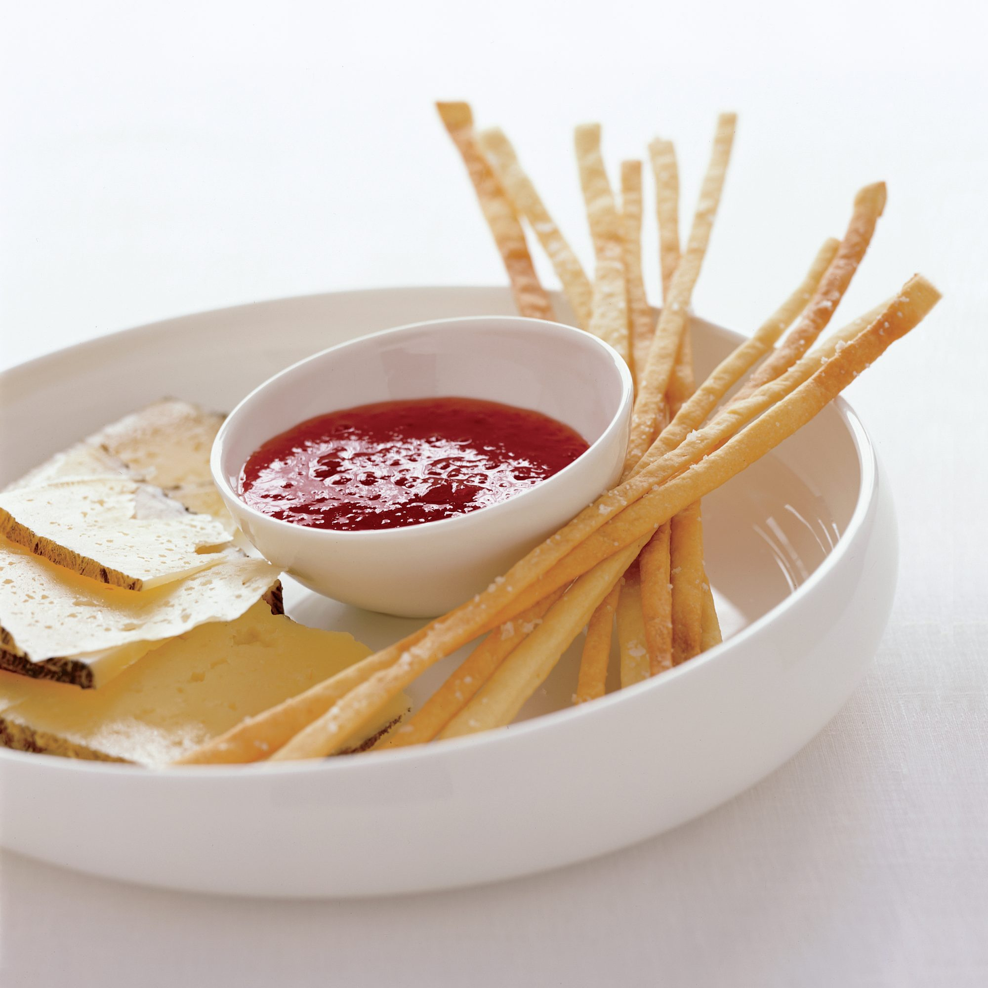Red-Pepper Jelly with Grissini and Montasio Cheese