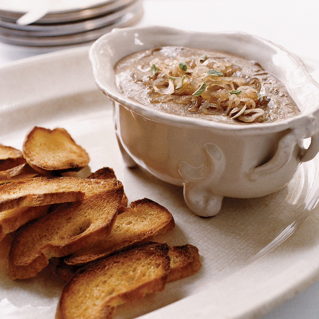 Turkey Liver Mousse Toasts with Pickled Shallots