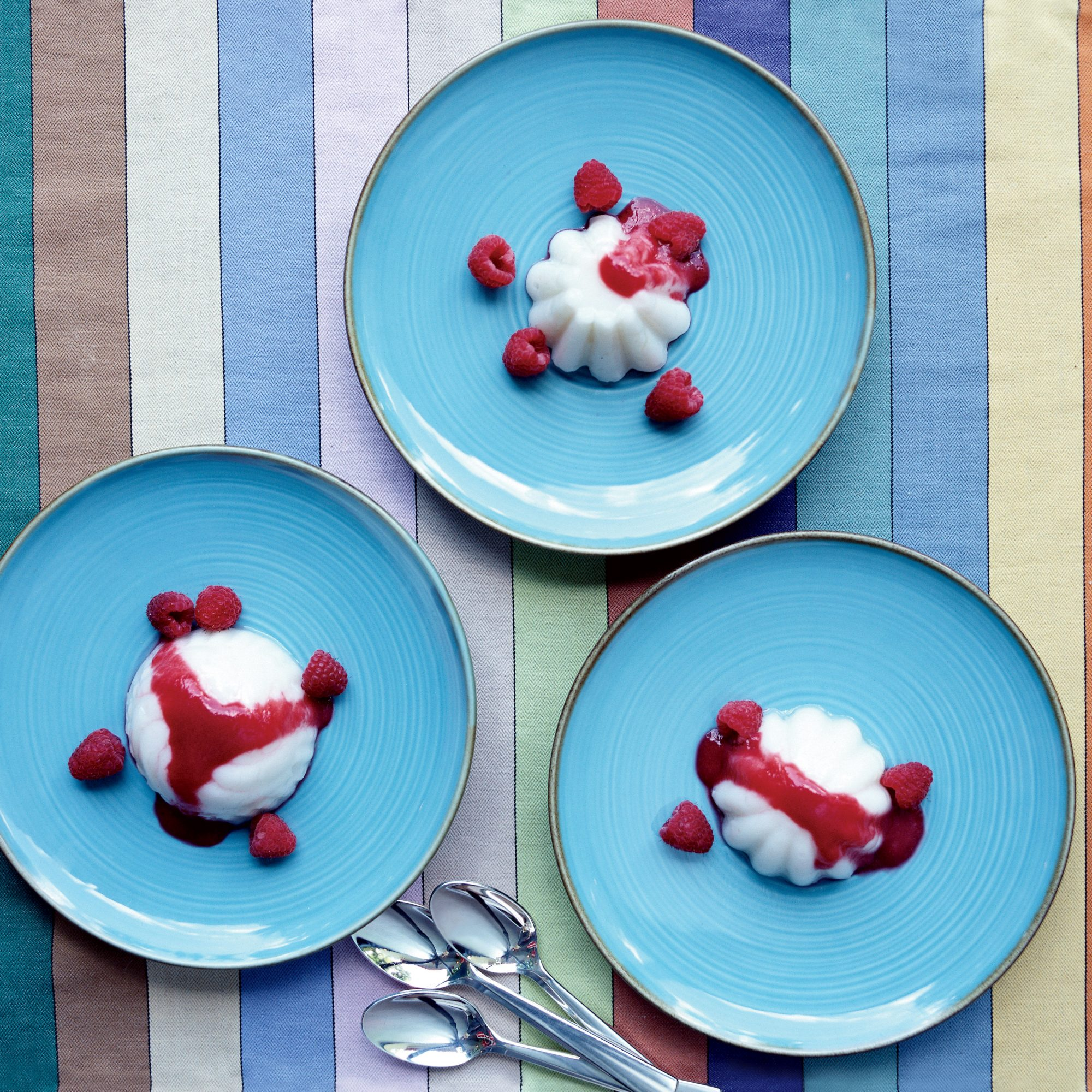 Coconut Pudding with Raspberry Sauce