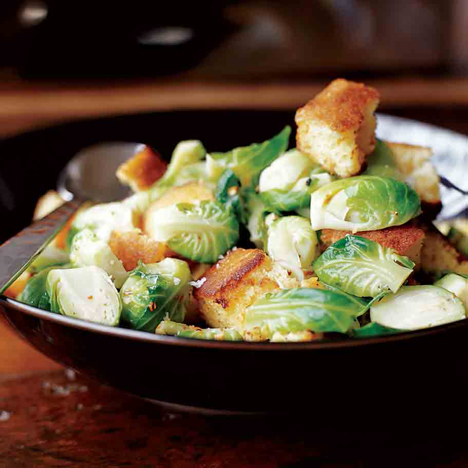 Toasted Corn Bread Hash with Brussels Sprouts