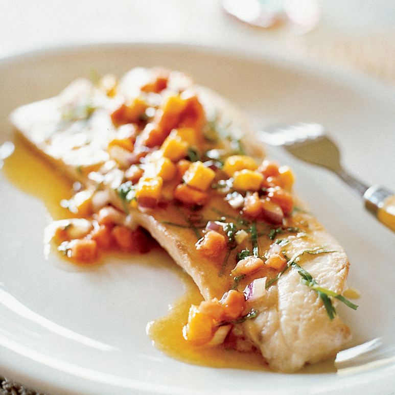 Poached Red Snapper with Papaya and Mango Sauce Vierge
