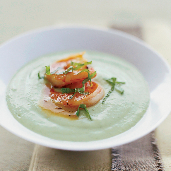 Chilled Cucumber-Avocado Soup with Spicy Glazed Shrimp