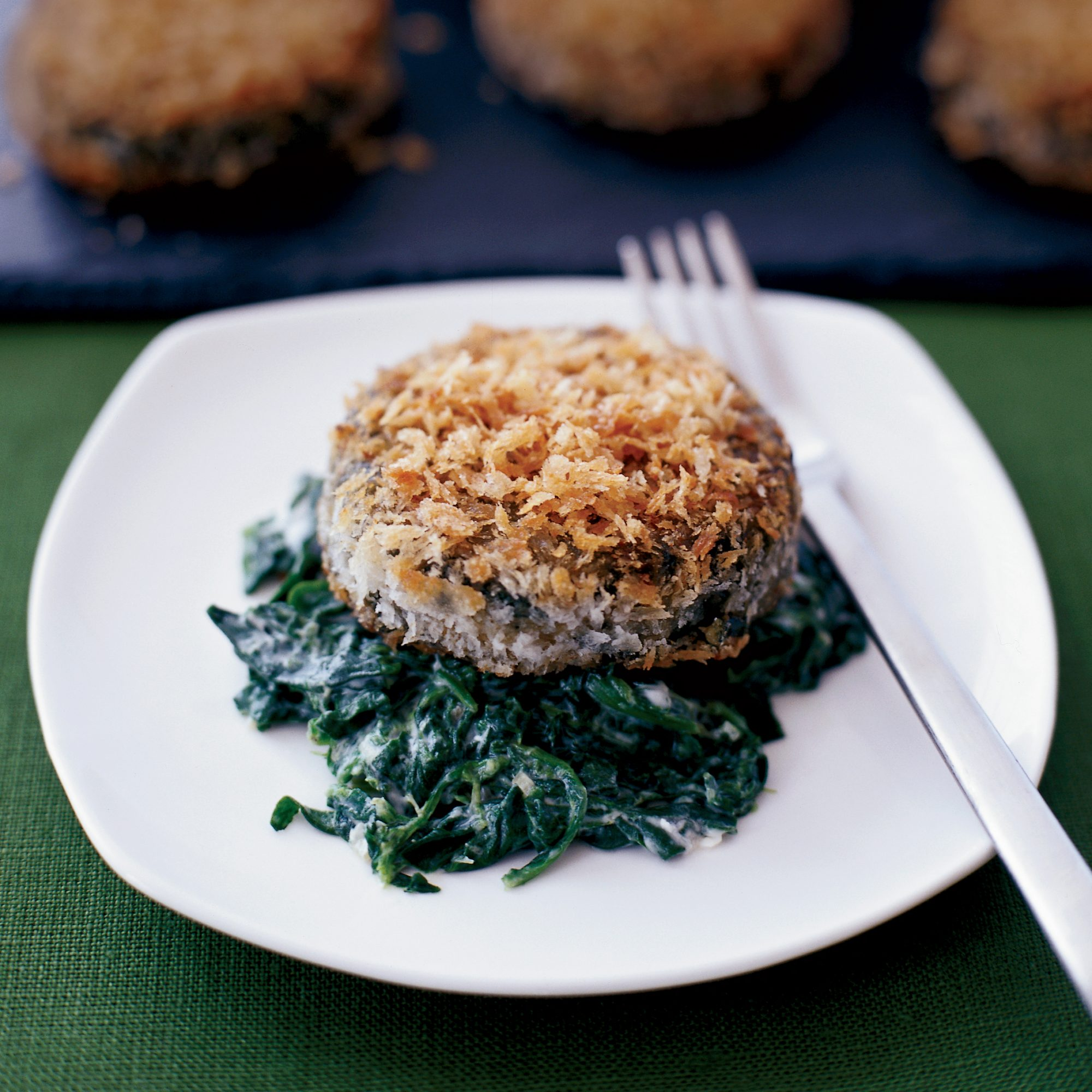 Crispy Swiss Chard Cakes with Mascarpone-Creamed Spinach