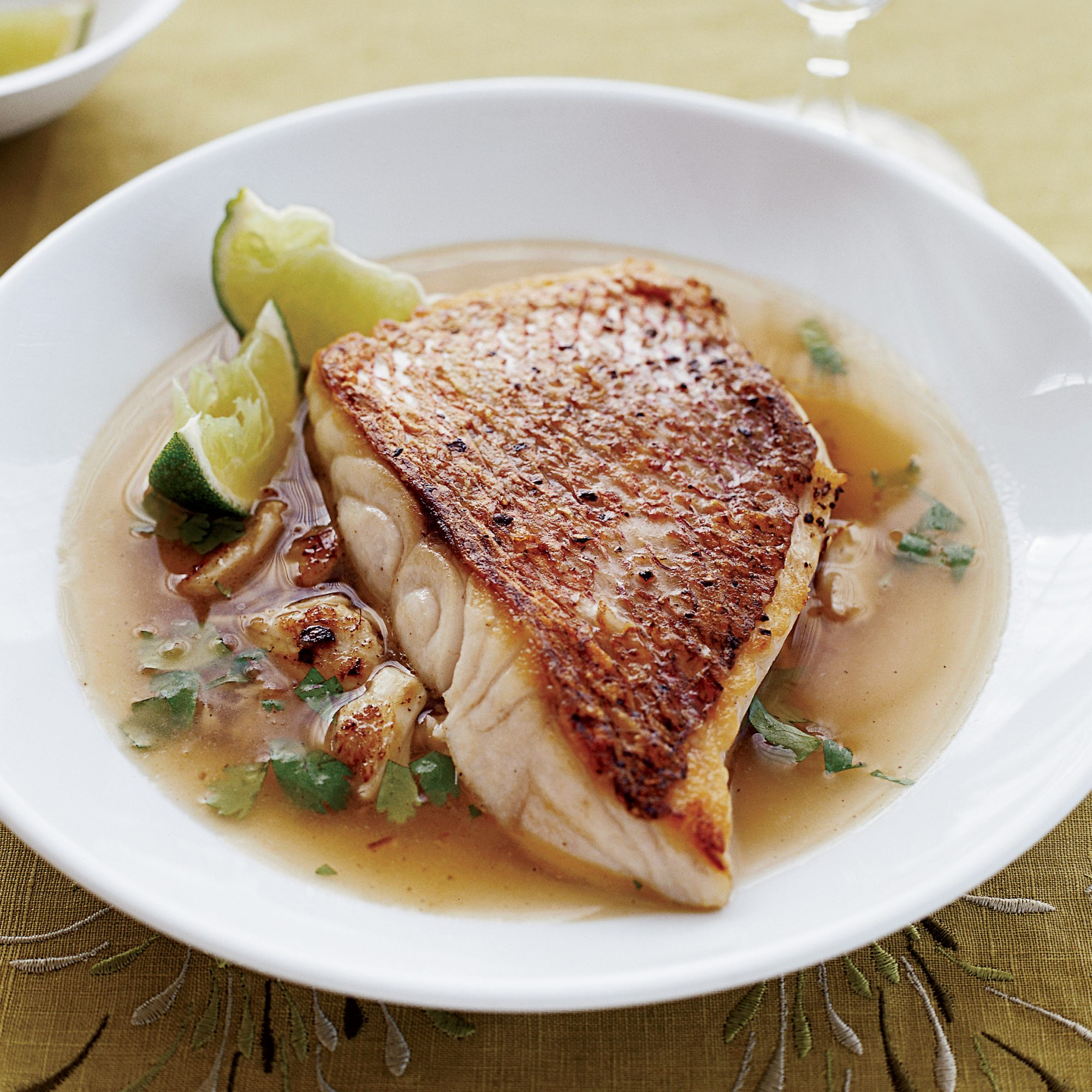 Snapper and Spiced Crab with Lime-Coriander Broth