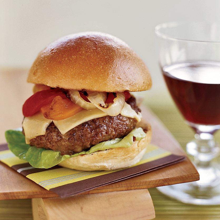 Gouda Burgers with Grilled Onions and Pickled Peppers