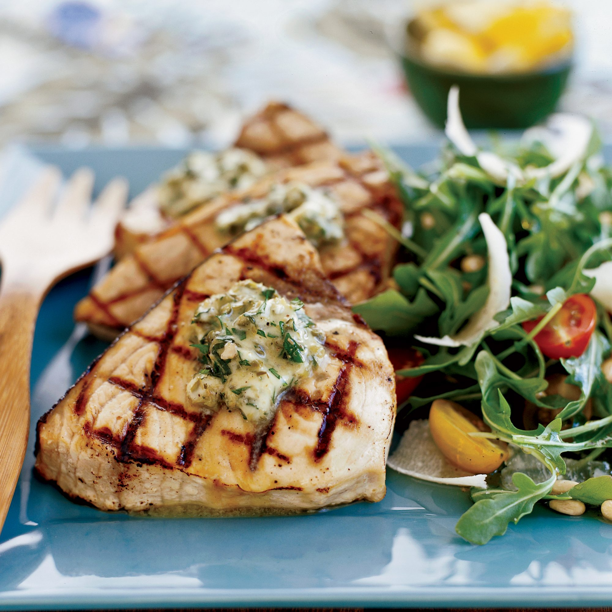 Grilled Swordfish Stakes with Basil-Caper Butter