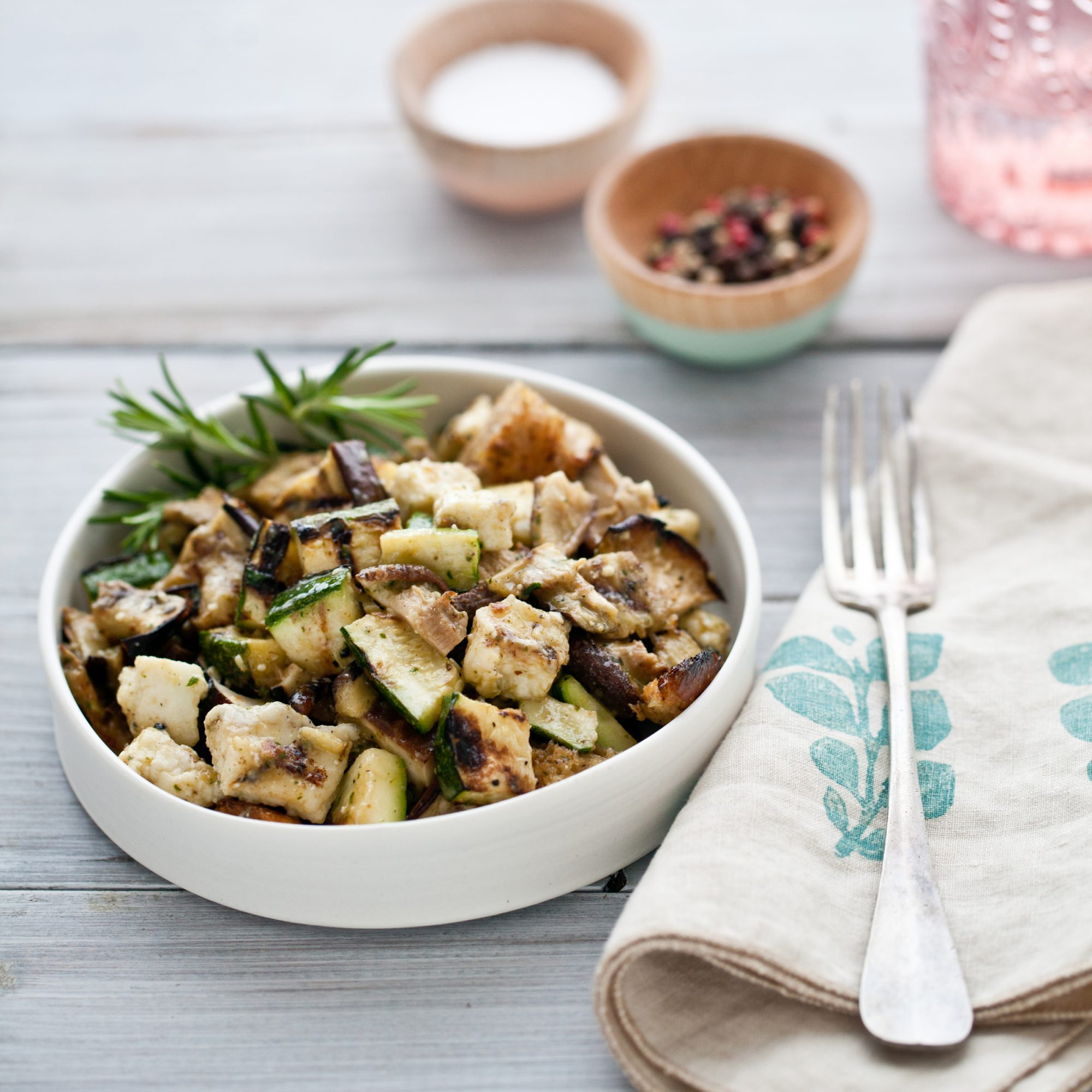 Grilled Vegetable Salad with Croutons, Haloumi and Anchovy Sauce