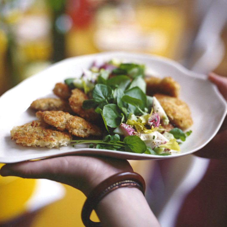 Pan-Fried Oysters with Creamy Radish and Cucumber Salad
