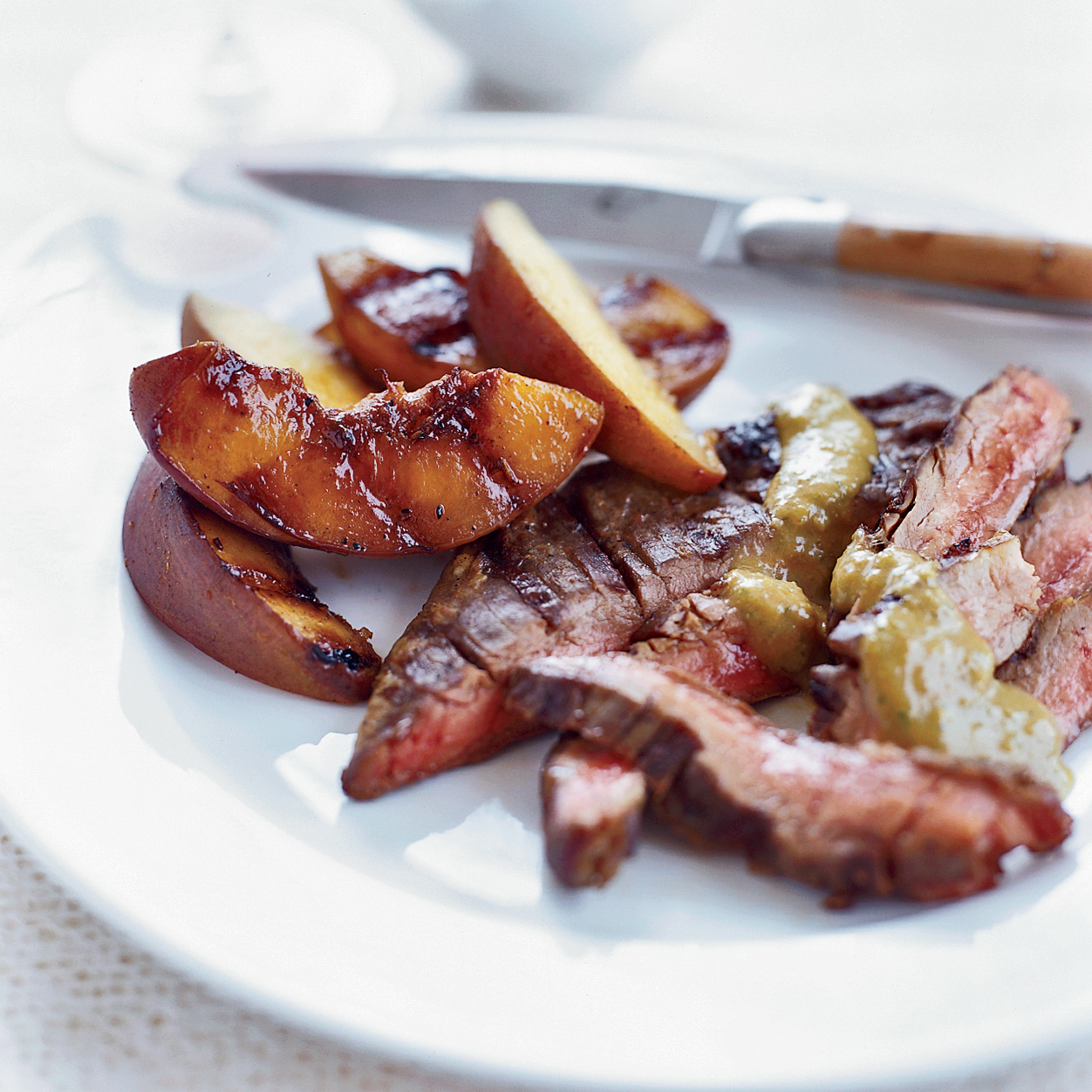 Grilled Skirt Steak and Peaches