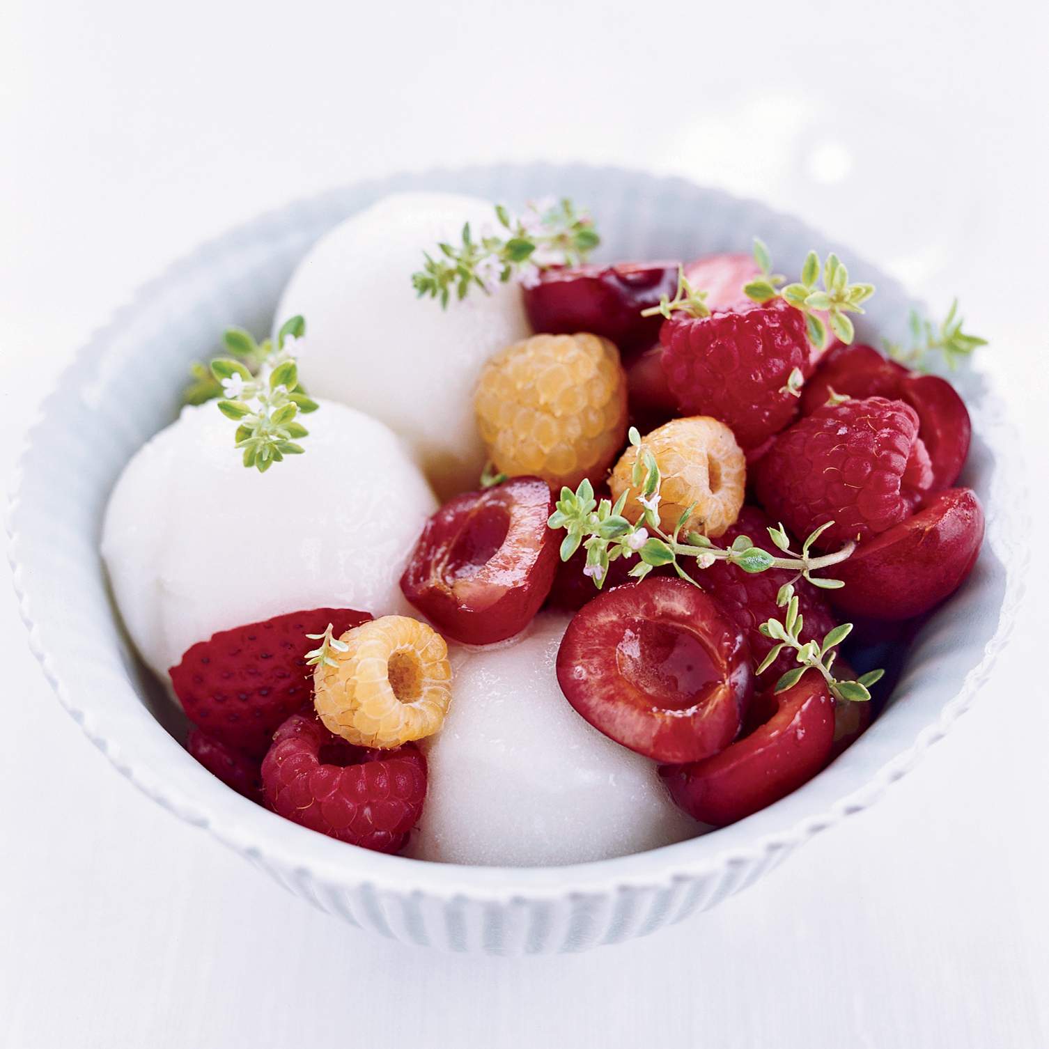 Lemon-Thyme Sorbet with Summer Berries