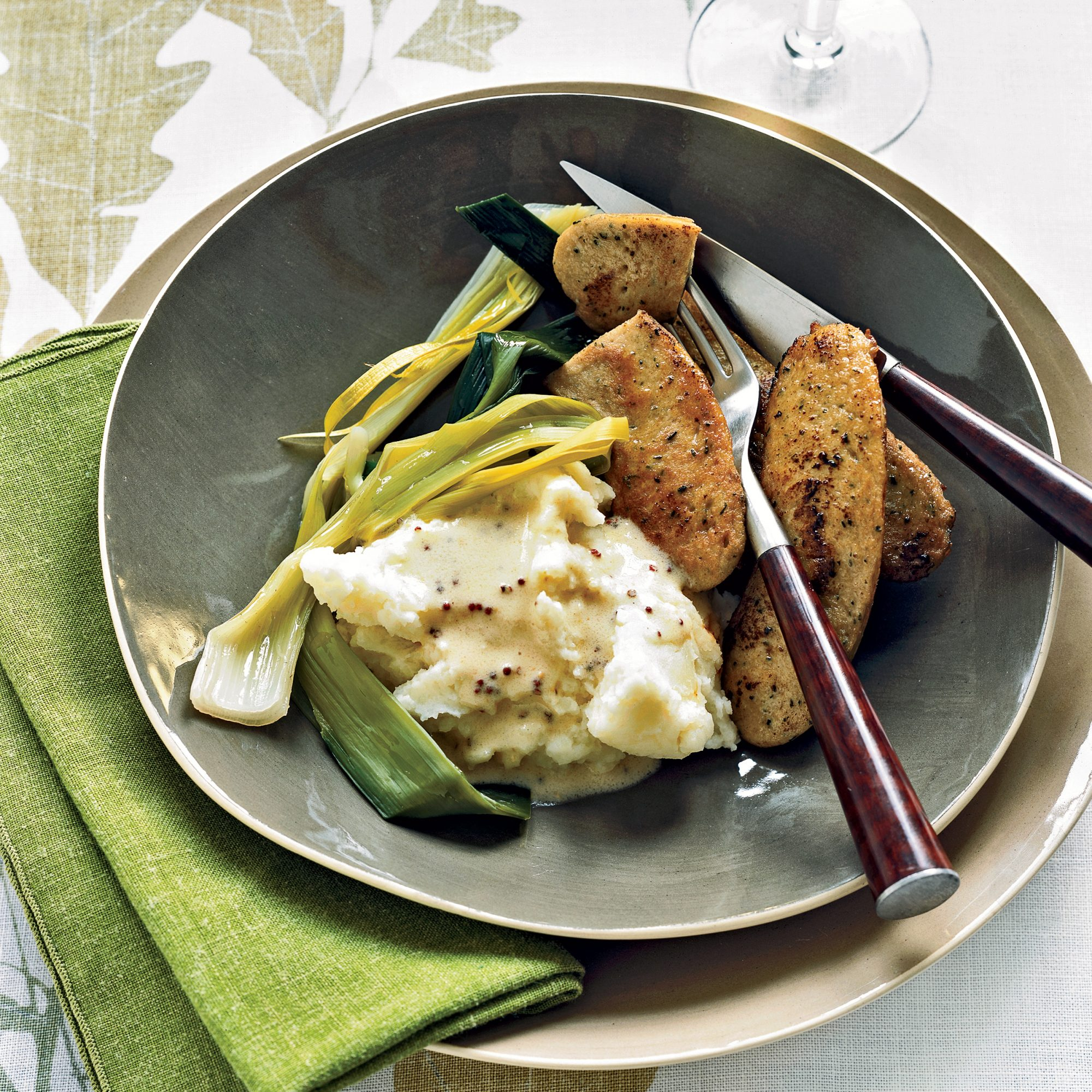 Boudin Blanc with Leeks and Mustard Sauce