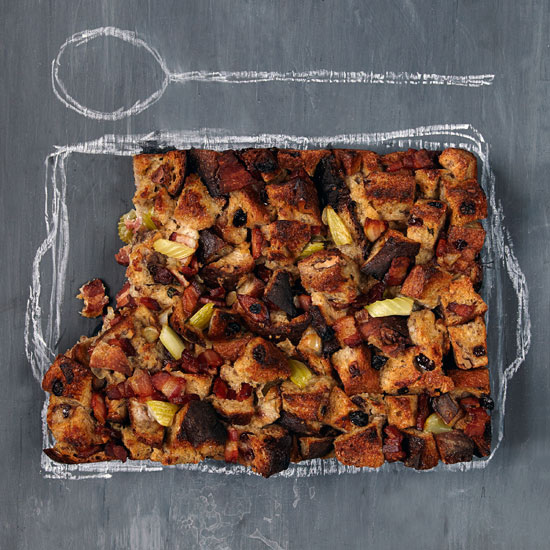 Cranberry-Pecan Bread Pudding with Bacon