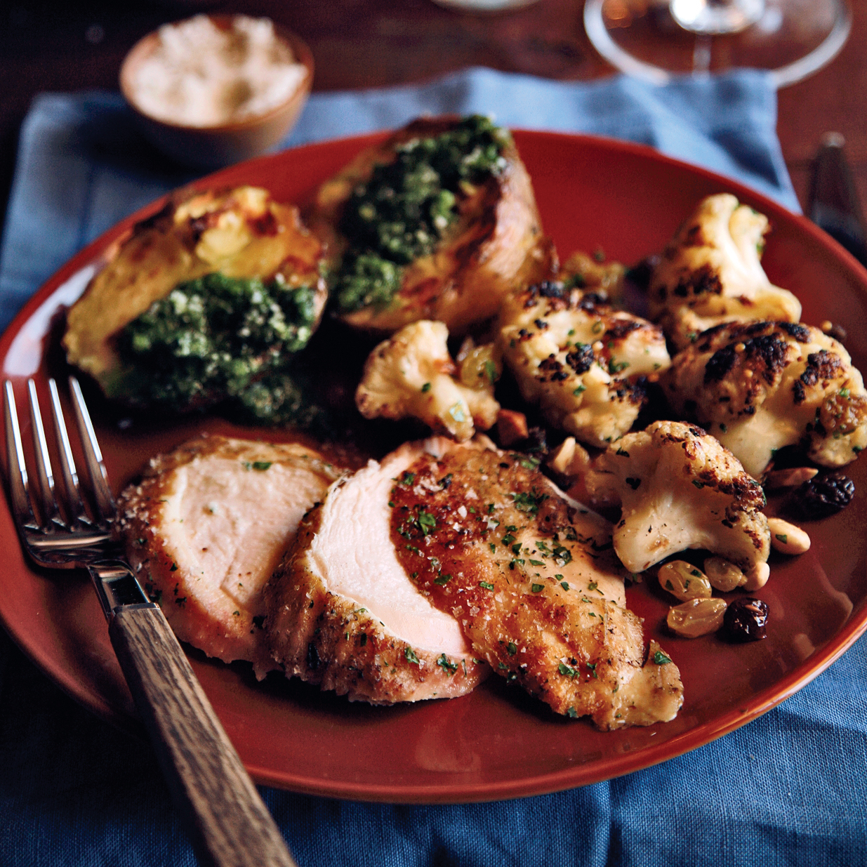 Grilled Capon with Salsa Verde