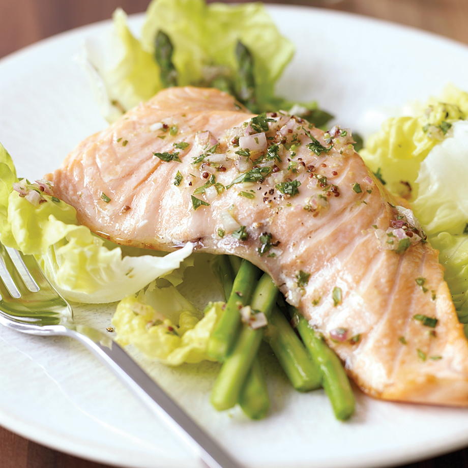 Poached Salmon Salad with Lettuce and Asparagus