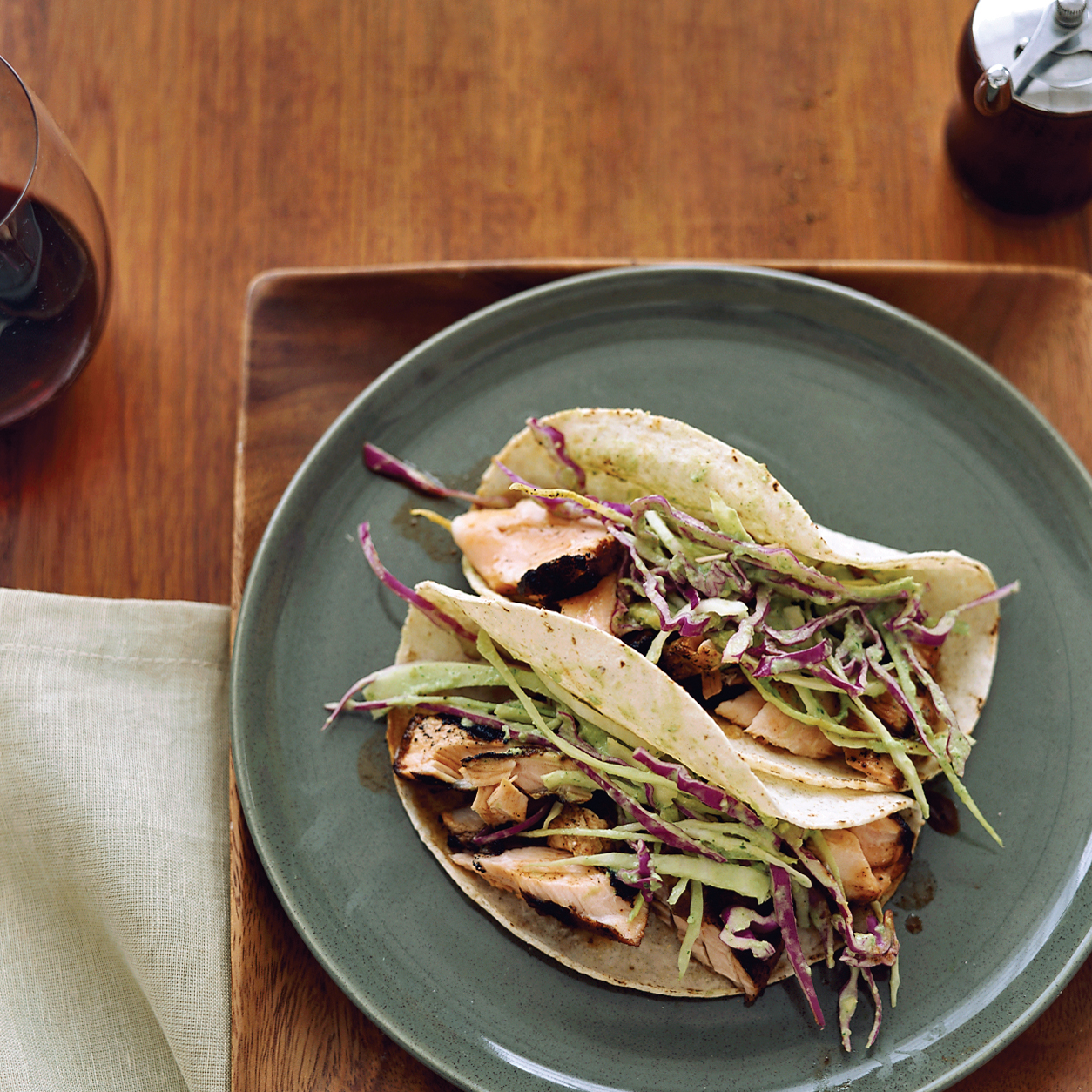 Dry-Rubbed Salmon Tacos with Tomatillo-Avocado Slaw