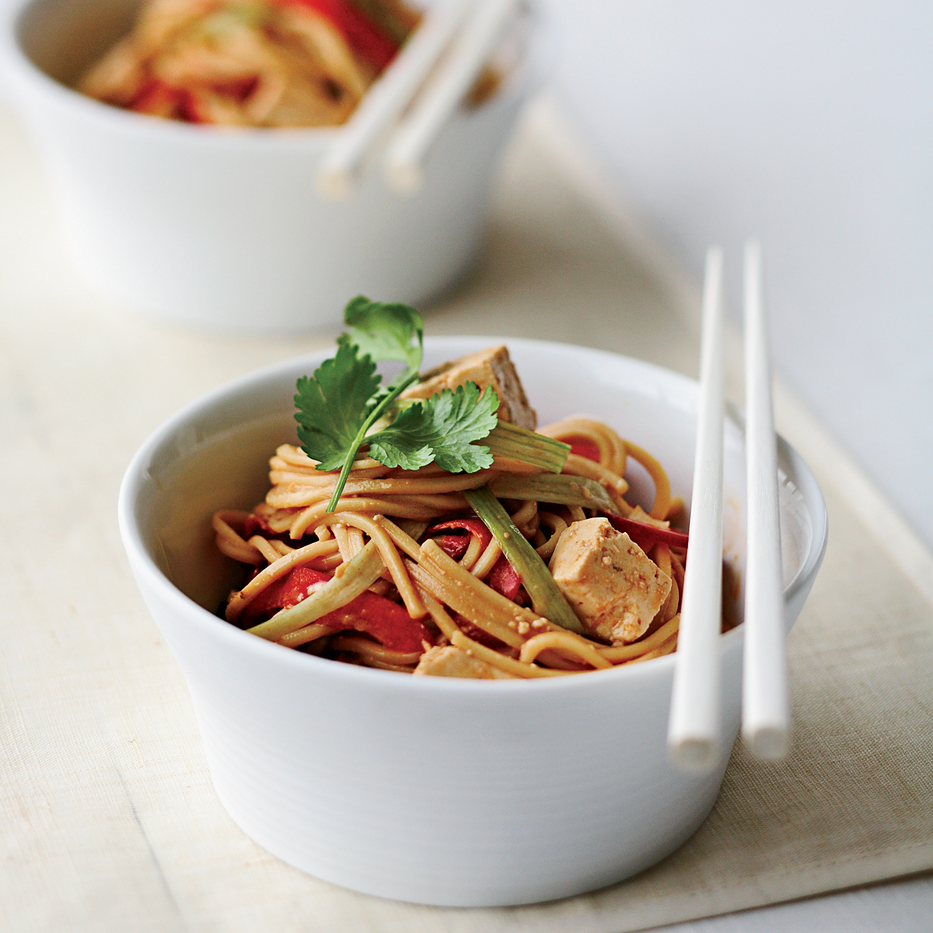Cold Peanut Noodles with  Tofu and Red Peppers