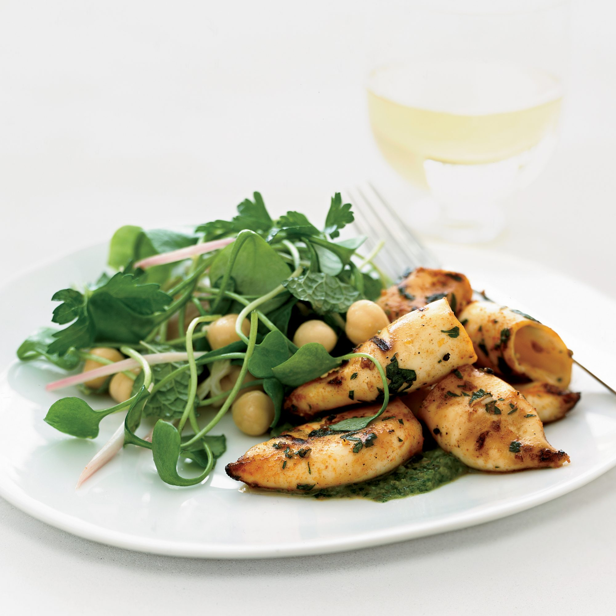 Grilled Squid with Miner's Lettuce Salad and Green Sauce