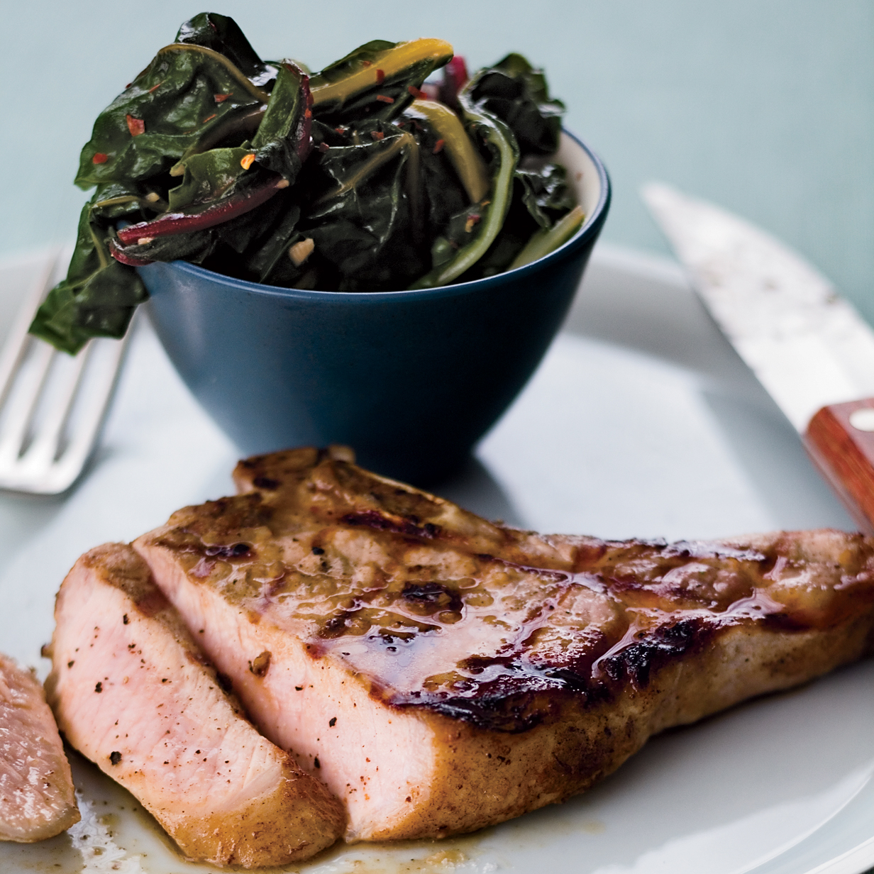 Grilled Pork Chops with Anchovies and Swiss Chard