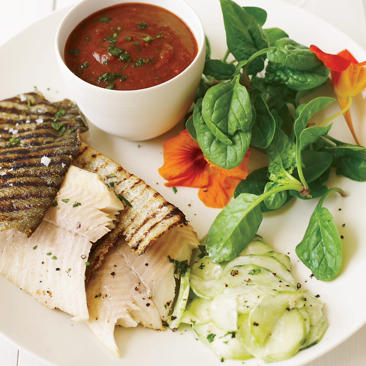 Grilled Trout with Smoky Tomatillo Sauce and Cucumber Salad