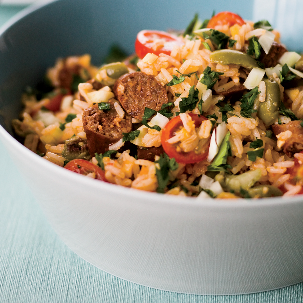 Rice Salad with Merguez and Preserved Lemon Dressing