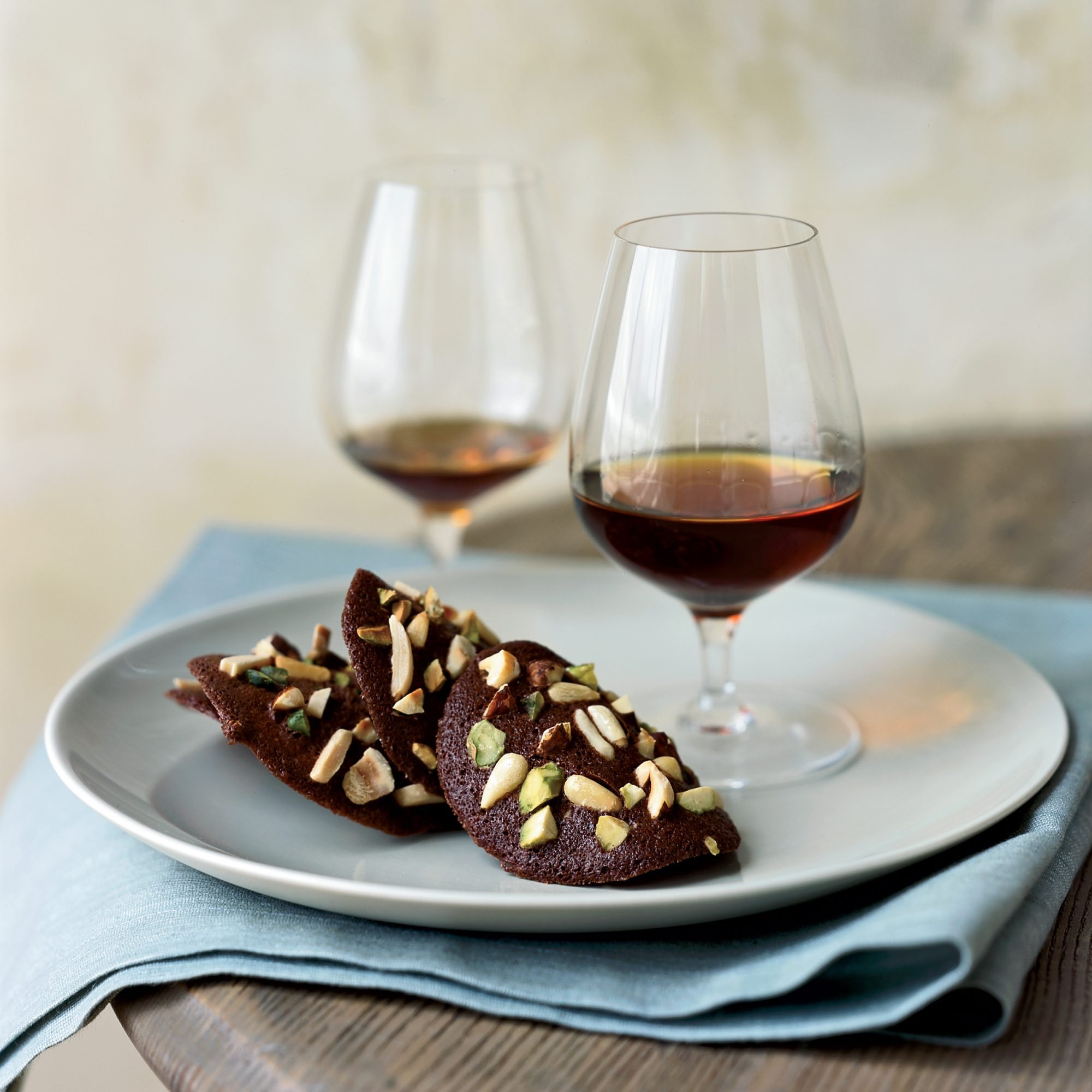 Cocoa Tuiles with Nuts