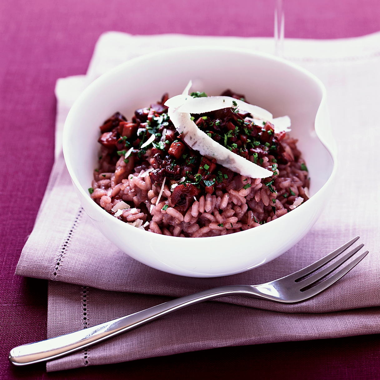 Red Wine Risotto with Mushroom  Marmalade