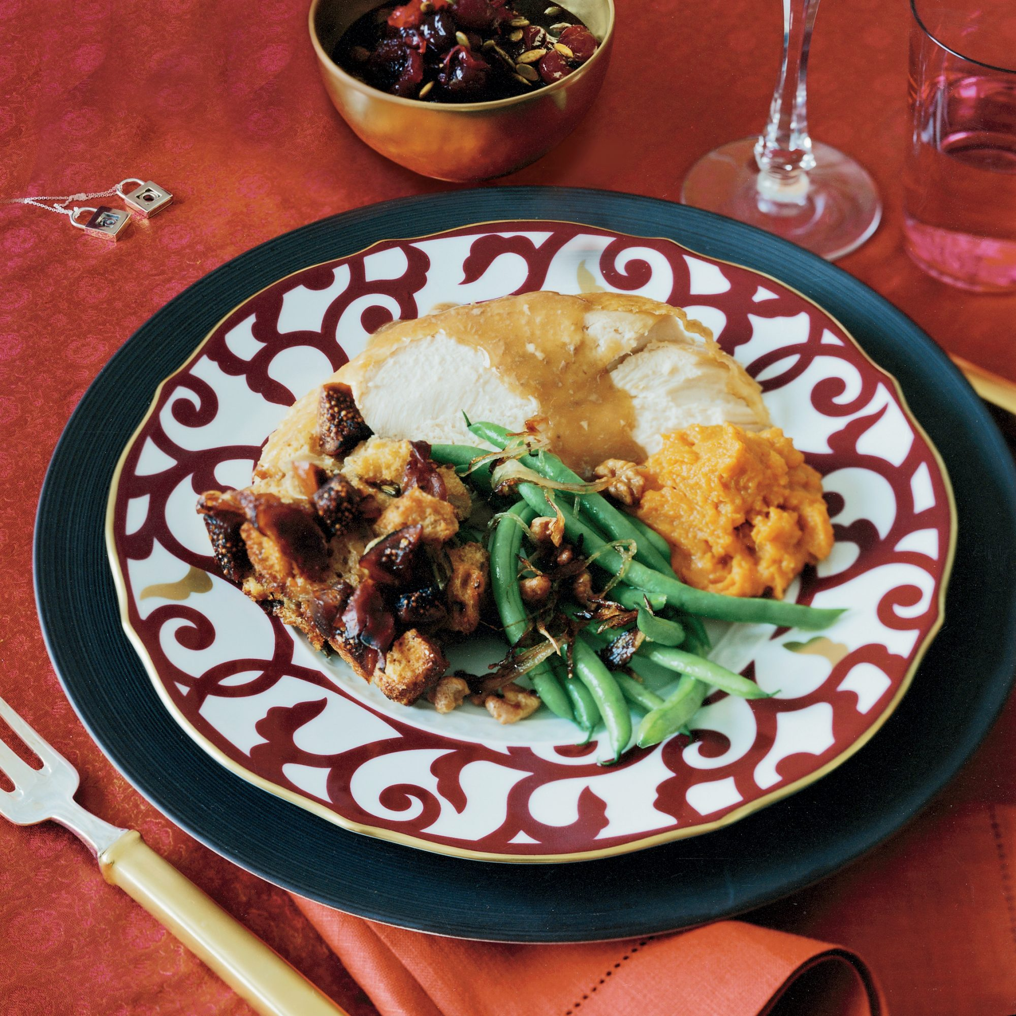 Roasted Capon with Fig-and-Prosciutto Stuffing