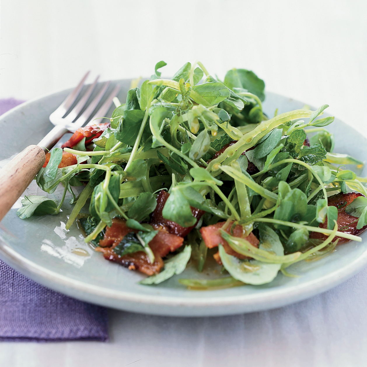 Crunchy Asian Pea Salad with Honeyed Bacon