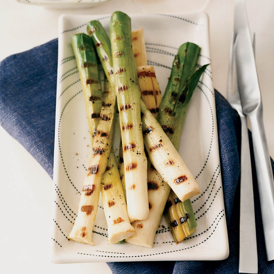 Grilled Baby Leeks with Romesco Sauce