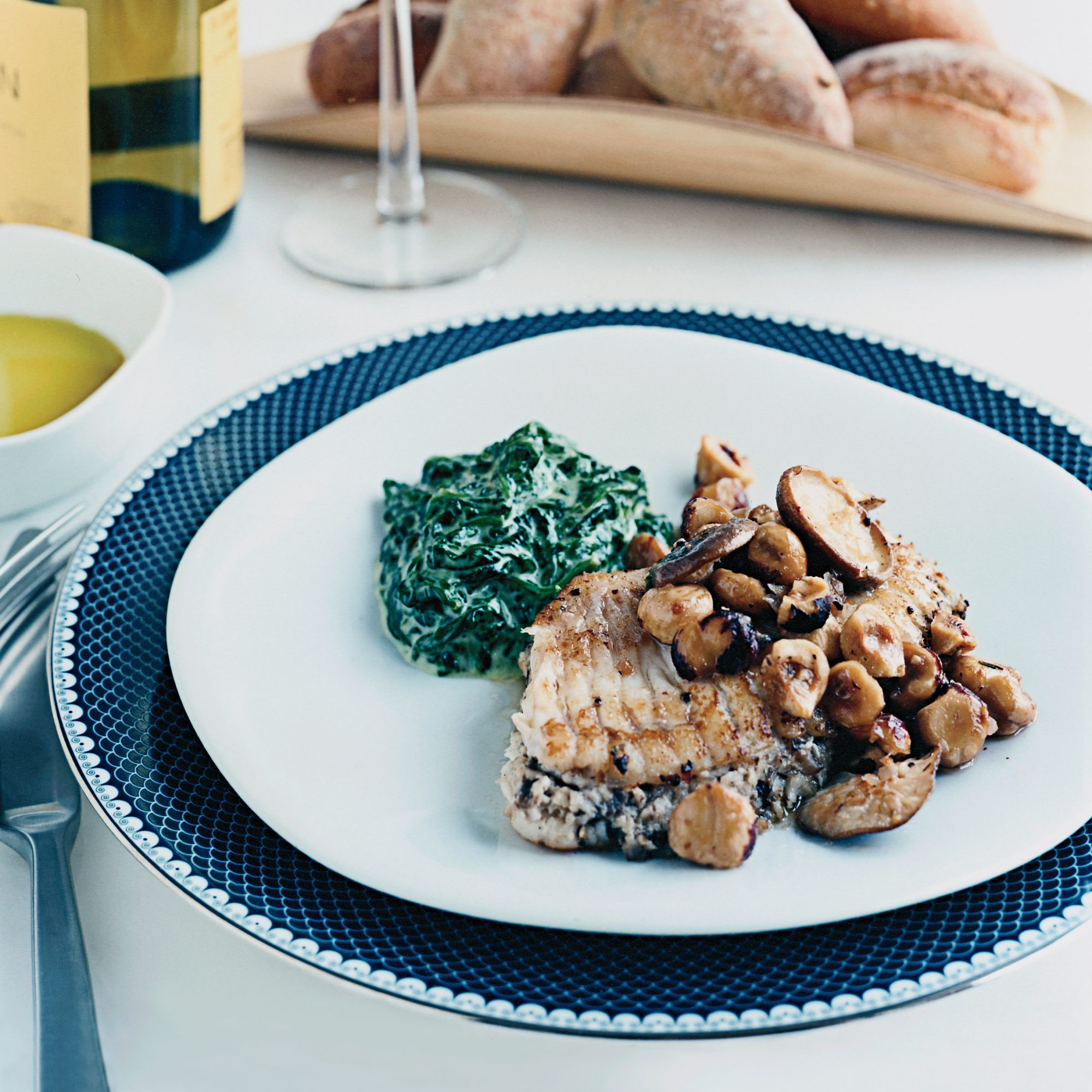 Skate with Mushrooms and Hazelnuts