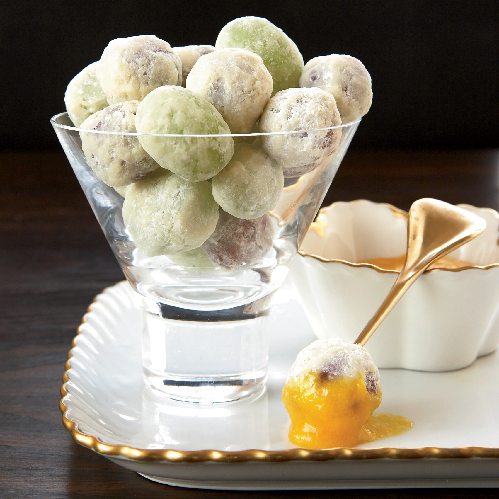 White Chocolate-Coated Grapes with Orange Curd