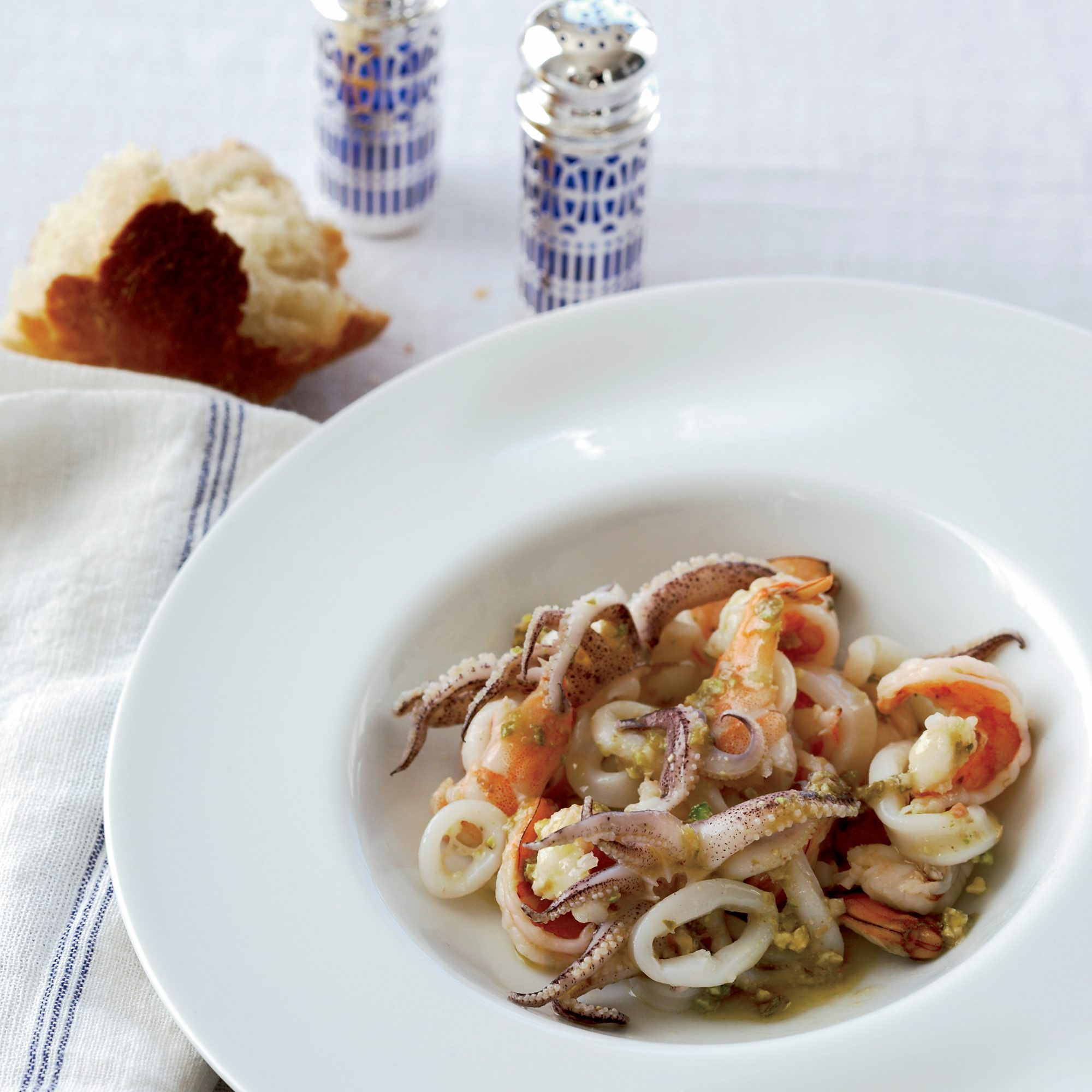 Warm Seafood Salad with Pistachio and Capers