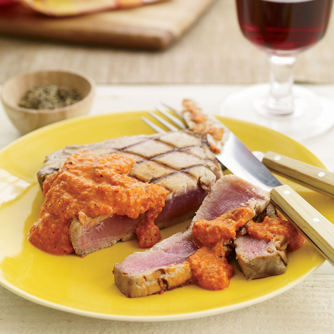 Grilled Tuna with Smoked-Almond Romesco Sauce