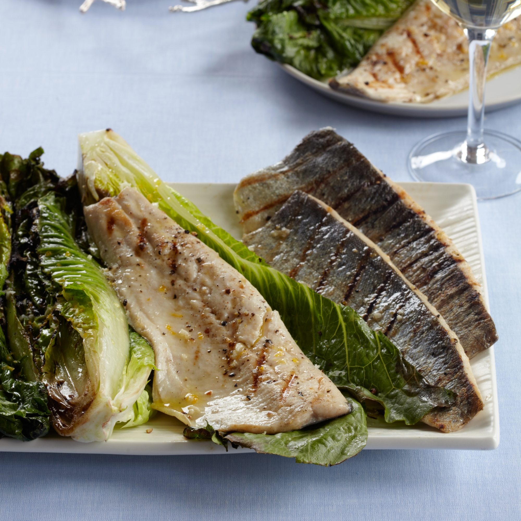 Grilled Trout with Grilled Romaine Salad