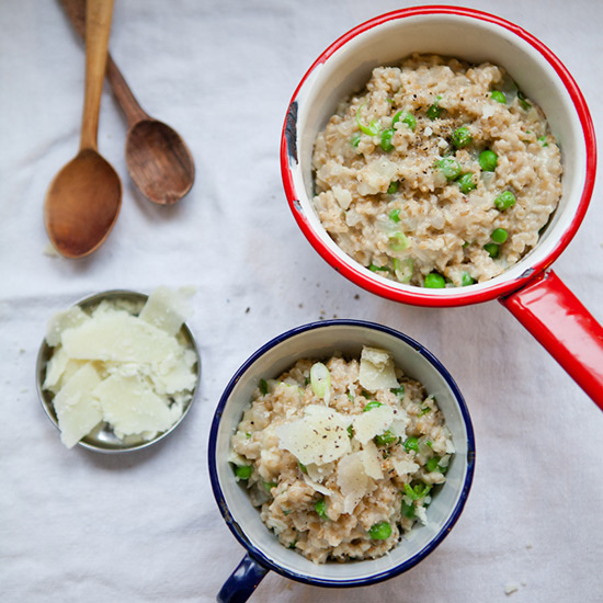 Oat Risotto with Peas and Pecorino