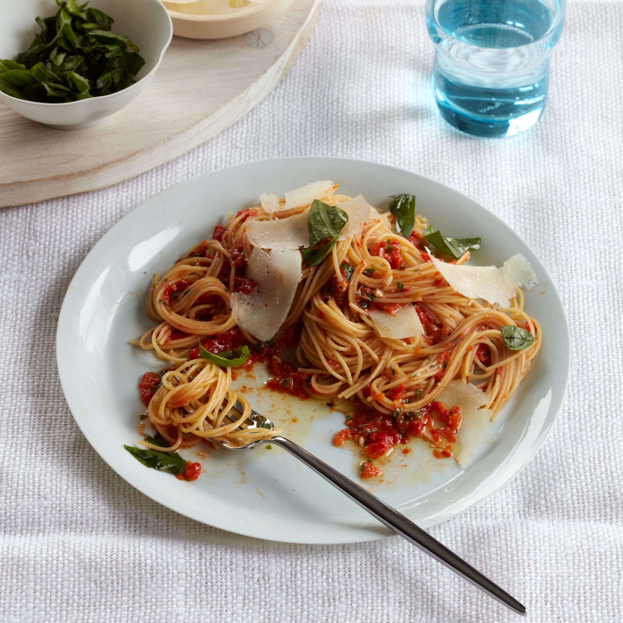 Angel Hair Pasta with Red Pepper Pesto and Basil