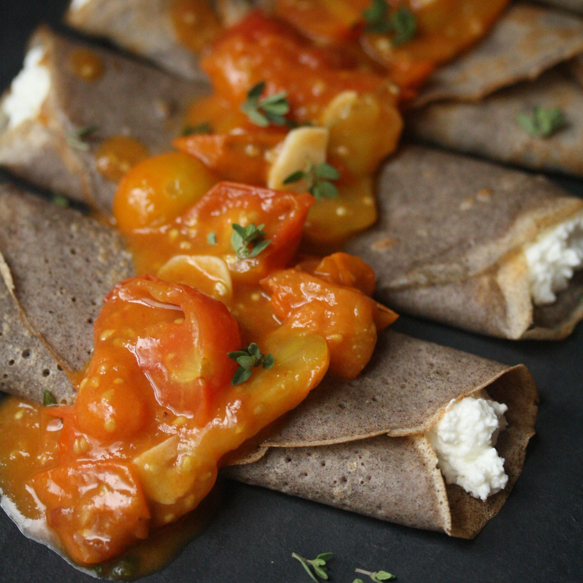 Buckwheat Crêpes with Tomato Compote and Ricotta