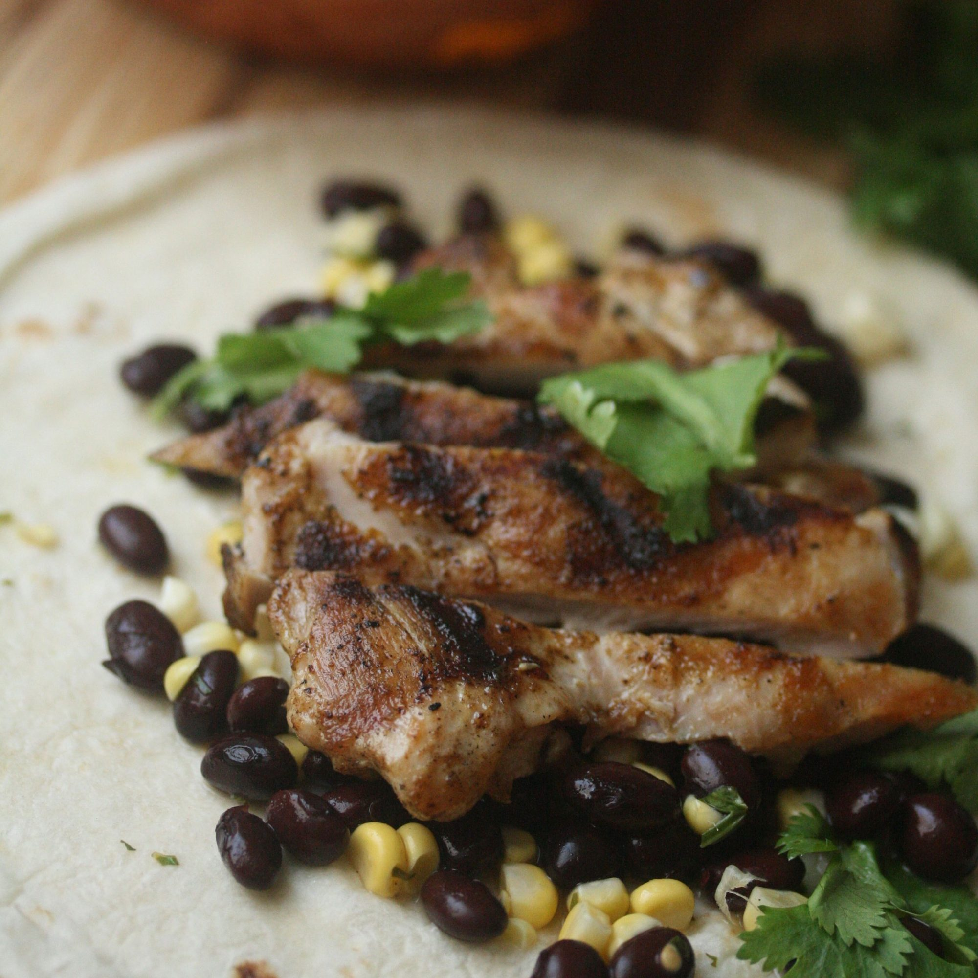 Grilled Chicken Tacos with Black Bean and Corn Salad