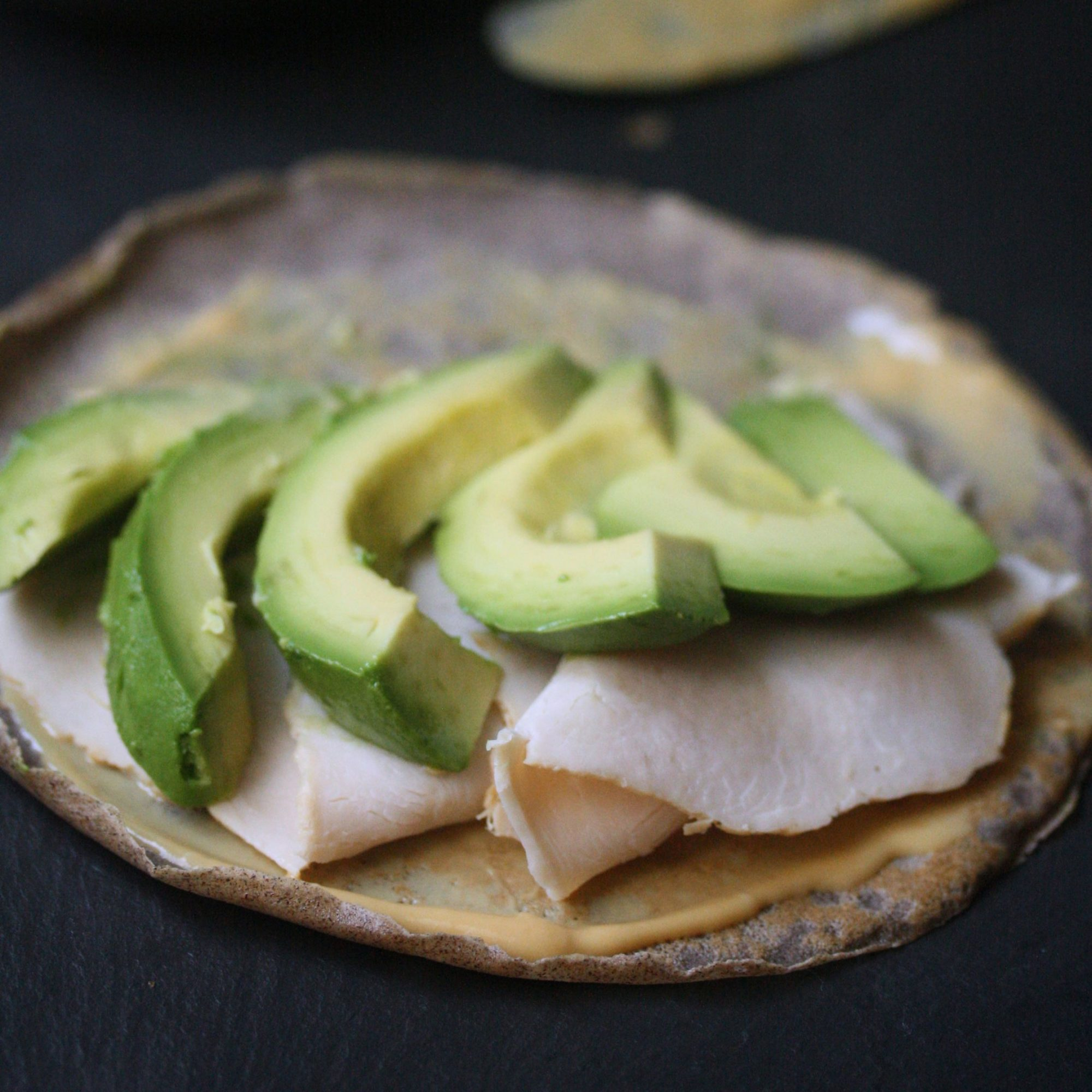 Open-Face Buckwheat Crêpes with Avocado, Smoked Turkey and Dijon