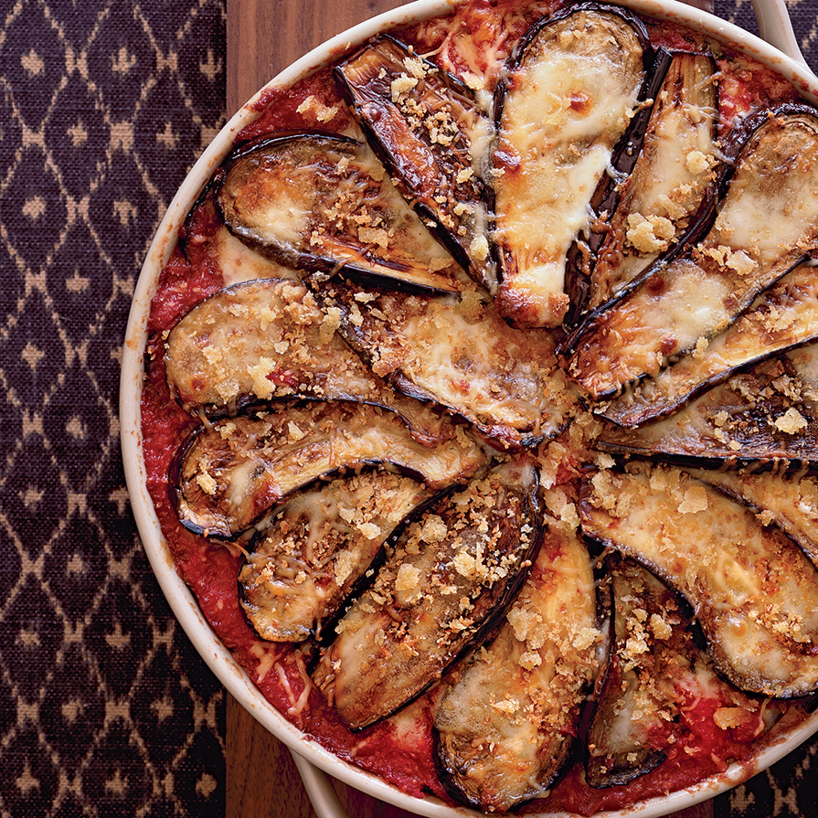 Eggplant Parmesan with Crisp Bread Crumb Topping