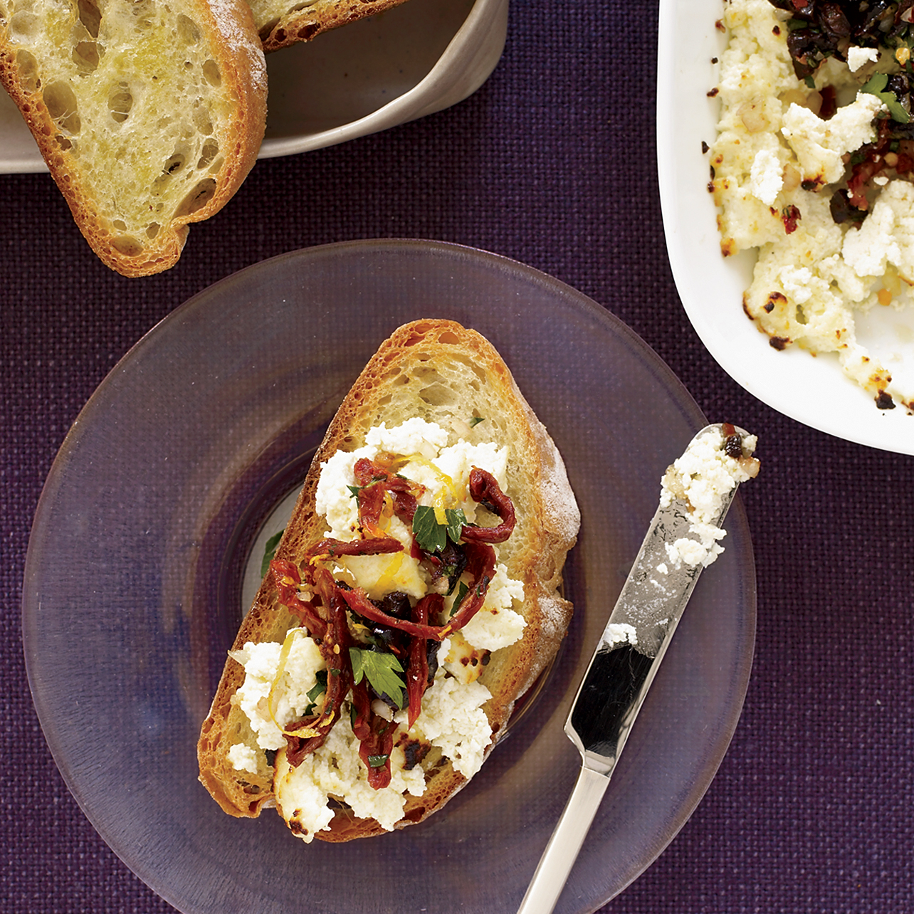 Broiled Ricotta with Olives and Sun-Dried-Tomato Relish