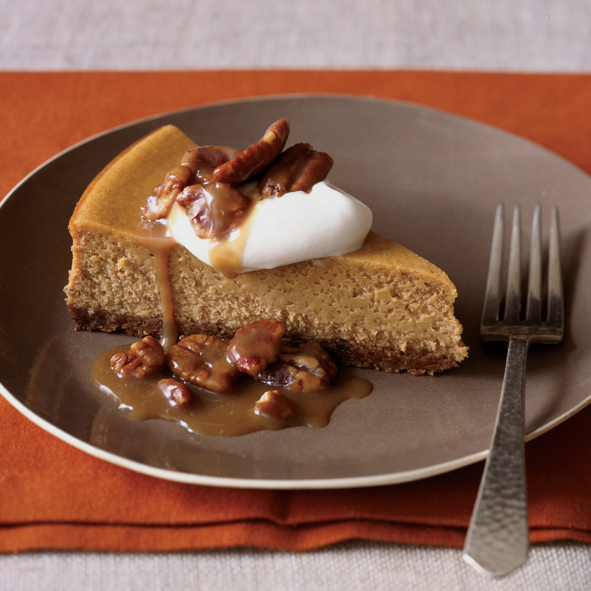 Pumpkin Cheesecake with Pecan Praline Topping